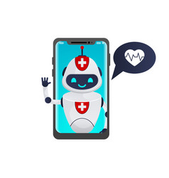 medical chatbot inside smartphone vector image