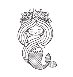 mermaid with a wreath of starfish holding her vector image