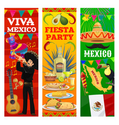 Mexican fiesta banners mexico flag map and food vector