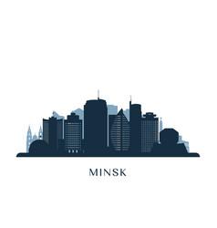 minsk skyline monochrome silhouette vector image