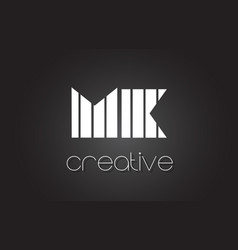 Mk m k letter logo design with white and black vector