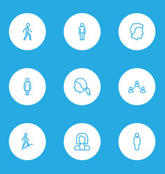 person icons line style set with human client vector image