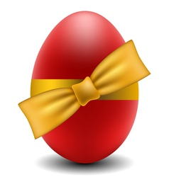 Red Easter egg with yellow bow vector image