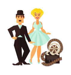 Retro cinema actor and movie actress flat vector