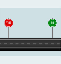 Road pathway with stop and go sign vector