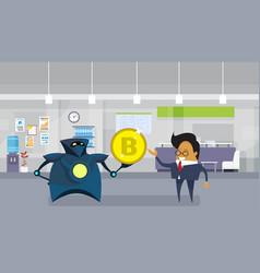 Robot giving asian business man bitcoin office vector
