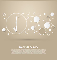 saxophone icon on a brown background with elegant vector image