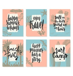 set hand drawn summer vacation posters vector image
