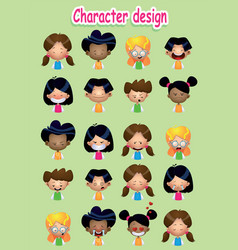 set of cartoon male and female avatars vector image