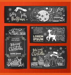 Set of chalk merry christmas banners on vector
