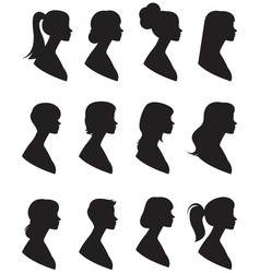 set of silhouettes portrait of a woman in a vector image