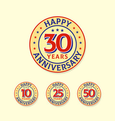 set vintage style anniversary logo badge happy vector image