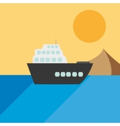 Single cruise ship icon vector