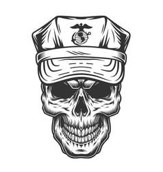 Skull in cap military officer vector