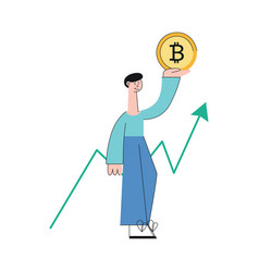 smiling man bitcoin increase trend flat vector image