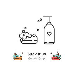 soap icon minimalist design soap logo thin line vector image