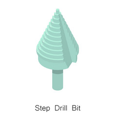 Step drill bit icon isometric 3d style vector