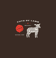 stock lamb cuts diagram in flat style vector image