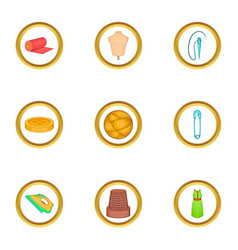 tailor equipment icons set cartoon style vector image