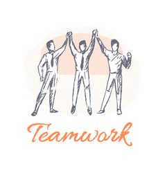 Teamwork poster and team vector