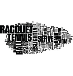 Tennis serve text background word cloud concept vector
