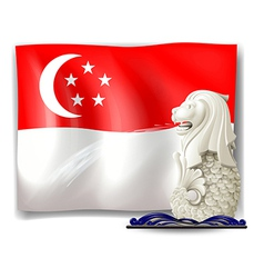 The statue of Merlion and the flag of Singapore vector
