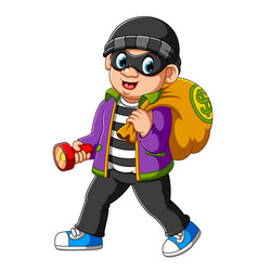 Thief man with flashlight in his hand vector