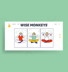 Three wise monkeys landing page template women vector