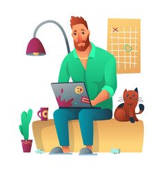 tired freelance worker working with laptop seatung vector image