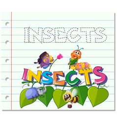 Tracing word for insects vector