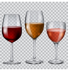 Transparent glass goblets with wine vector