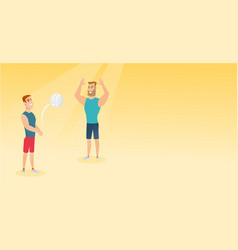 two caucasian men playing beach volleyball vector image