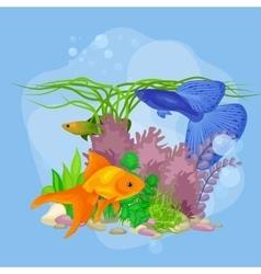Underwater world background with fish vector