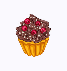 vanilla cupcake with chocolate cream and red berry vector image