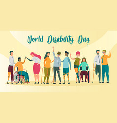 world disability day banner handicapped people vector image