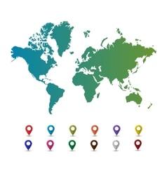 World map with colorful pointer marks vector