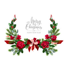 wreath rose and fir vector image