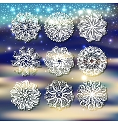 christmas snowflake with a shadow decoration set vector image