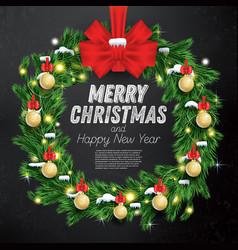 Christmas wreath with green fir branch light vector