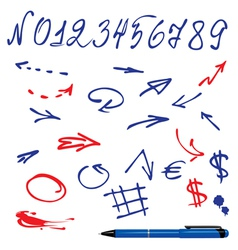 Numbers and symbols set vector image vector image