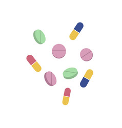 pills and capsules flat set isolated vector image vector image