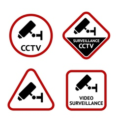 Video surveillance sticky labels vector image