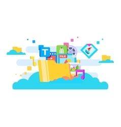 Cloud storage flat design vector image vector image