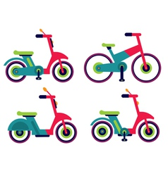 motorcycle scooter bycicle set isolated vector image