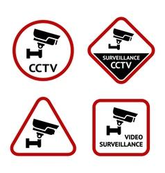Video surveillance set sticky labels vector image vector image
