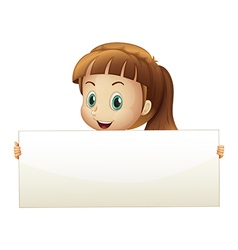 A cute girl holding an empty banner vector image vector image