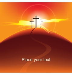 crosses at sunset vector image