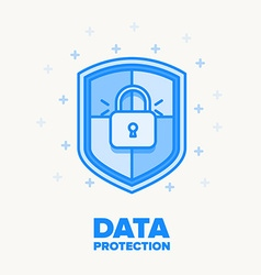 data protection thin blue line design vector image