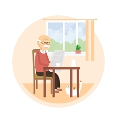 Old Man Reading a Newspaper vector image