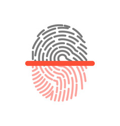 black and pink half fingerprint shape icon vector image vector image